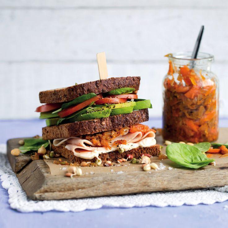 Turkey and spinach club sandwiches with pawpaw achar