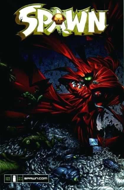 Spawn Comics - Green Eyes In Back Ground - Number 122 - Red Cape In Back Ground - Bugs In Forground - Greg Capullo