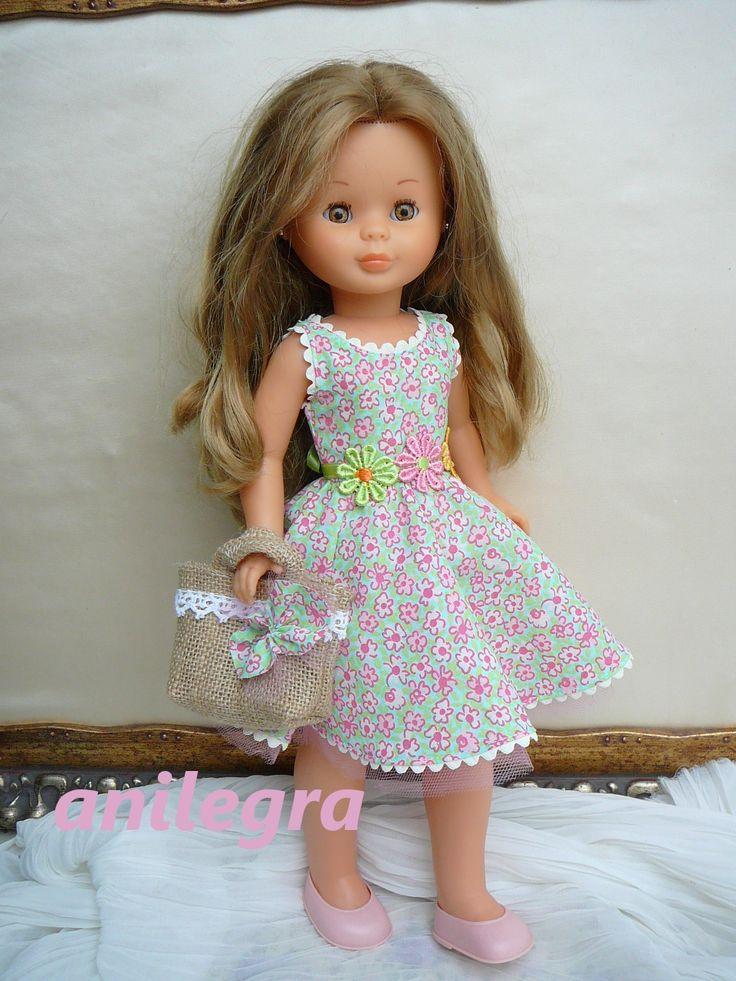 Vestido modelo Miren - Andrea con cestito y pinza para el pelo 22 euros