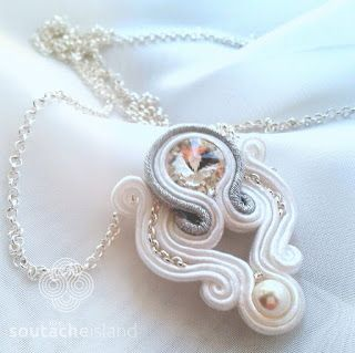White, silver, crystal and pearl soutache pendant angel