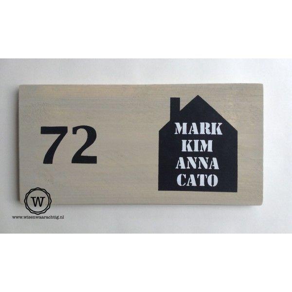 XL naambord steigerhout voordeur huis namen  40x20cm, 42,50€