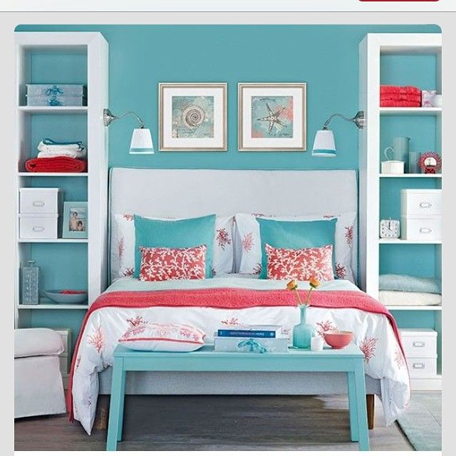 Blue Bedroom With Pink Coral Accents  Another Guest Bedroom Idea