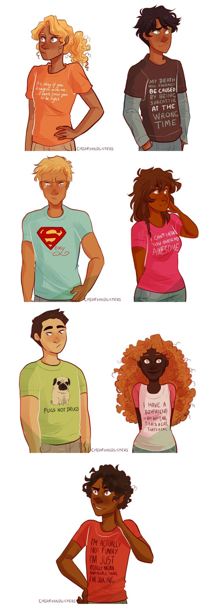 THOSE ARE TUMBLR QUOTES ON THEIR SHIRTS XD