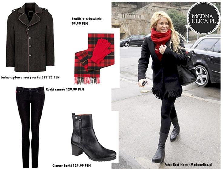 Ikona stylu - Shakira fantastycznie prezentuje się w jednorzędowej marynarce z wełny, czarnych botkach, obcisłych rurkach w tym samym kolorze i ciepłym, czerwonym szaliku. Chcielibyście kupić taki zestaw? Zapraszamy do TK Maxx!