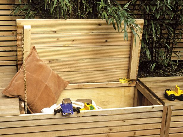 Outdoor Storage Bench: 7 Practical Garden + Patio Furniture Pieces: http://www.hgtv.com/landscaping/designing-a-garden-with-furniture/pictures/page-7.html?soc=pinterest