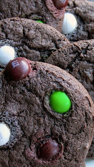 Chocolate Coffee Cookies with Coconut M&Ms