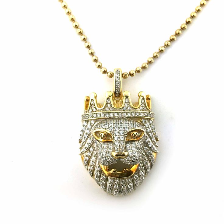 52 best hip hop jewelry images on pinterest hiphop jesus cross 925 yellow gold finish lion face cz pendant with free 24 inches necklace dm for more detail mozeypictures Images