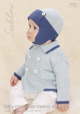 The Little Blue Motoring Coat and matching helmet. Truly spiffing hand knits for baby boys.
