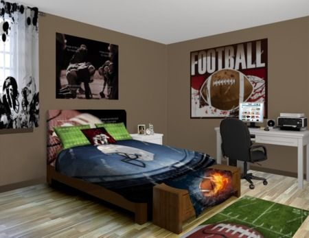 9 best images about football themed home decor on for Boys rugby bedroom ideas