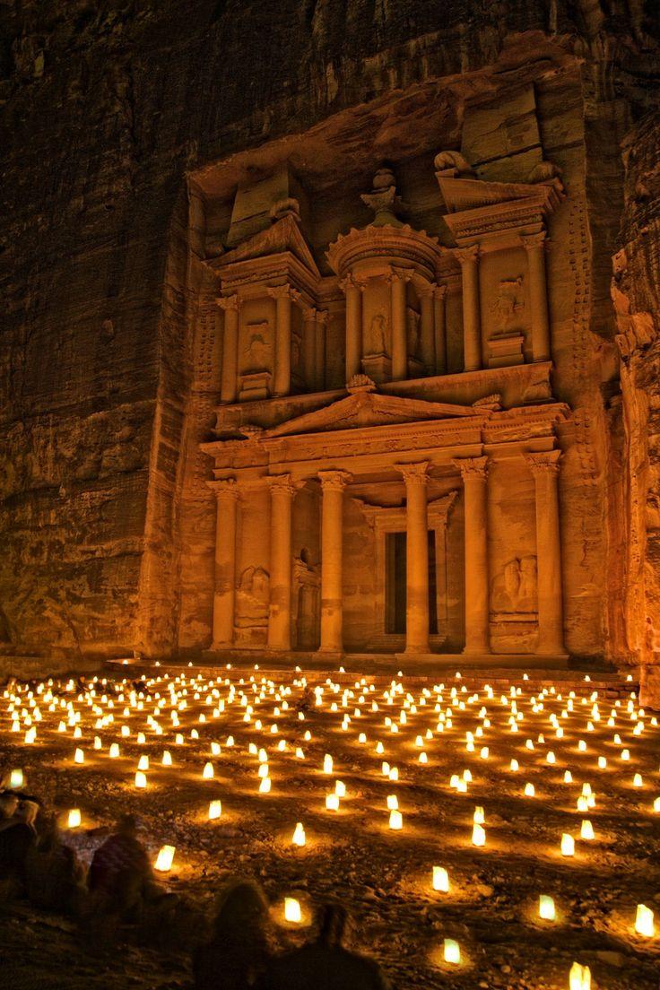Petra by Night. The Treasury, Ancient City of Petra, Unesco World Heritage Site, Jordan.