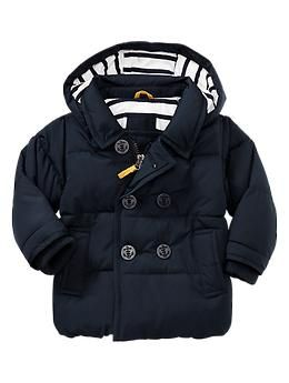 Warmest puffer peacoat from baby gap. Can't fit in carseat with this jazz on. Love this. Want in yellow! $58