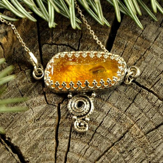BEETLE   Baltic amber insect necklace  sterling silver by Ankanate
