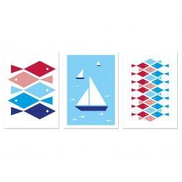 3 Karten mit maritimen Motiven in Blau und Rot. Gedruckt auf festem, weissen Karton. Mit Postkarten-Rückseite. Für die lieben Grüße vom Tag am Meer, für Urlaubsnachrichten, das Anglerlatein, oder einfach für die Wand.DIN A6/148 x 105 mmWeisser Karton, matt350 g/m² Offset (Premium)