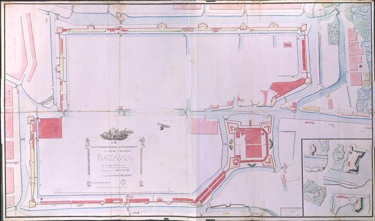 circa 1788  Map of the castle and city of Batavia