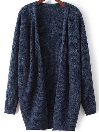 Navy Long Sleeve Loose Knit Cardigan