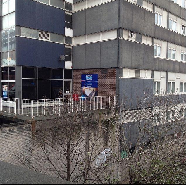 Space Invader, Blackfriars Street, Manchester, England.  Below railings at Travelodge, photo taken from the bridge on Blackfriars Street. (November 2013)