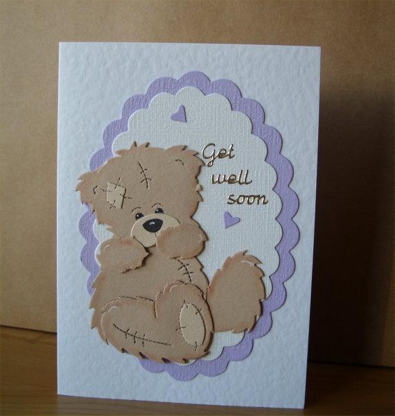 Get Well Soon Teddy Bear Card by Aunty Joan Crafts on Etsy