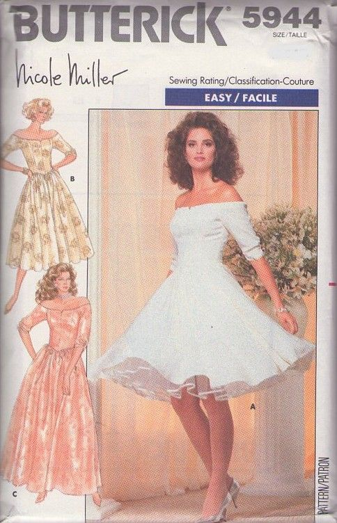 MOMSPatterns Vintage Sewing Patterns - Butterick 5944 Vintage 80's Sewing Pattern SUPERB Designer Nicole Miller Easy 50s Style Crinoline Petticoat Full Skirt Off the Shoulders Party Dress, Evening Bridal Gown Size 6-10