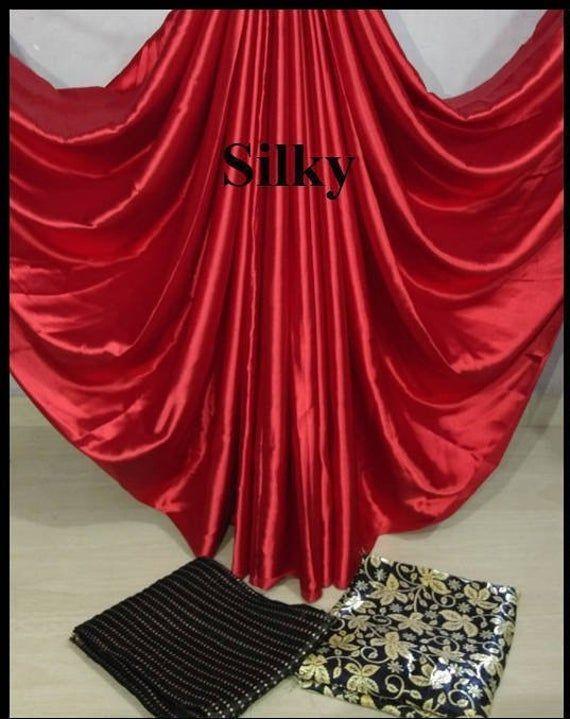 Indische Traditionelle Rote Satin Saree Mit 2 Ungenähten Bluse Für Frauen Trag…