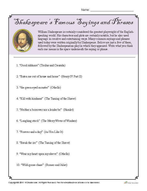 shakespeare s famous sayings and phrases worksheet activities shakespeare and students. Black Bedroom Furniture Sets. Home Design Ideas