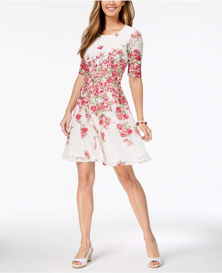a47f1c437d41b Charter Club Lace Floral-Print Fit & Flare Dress, Created for Macy's ...