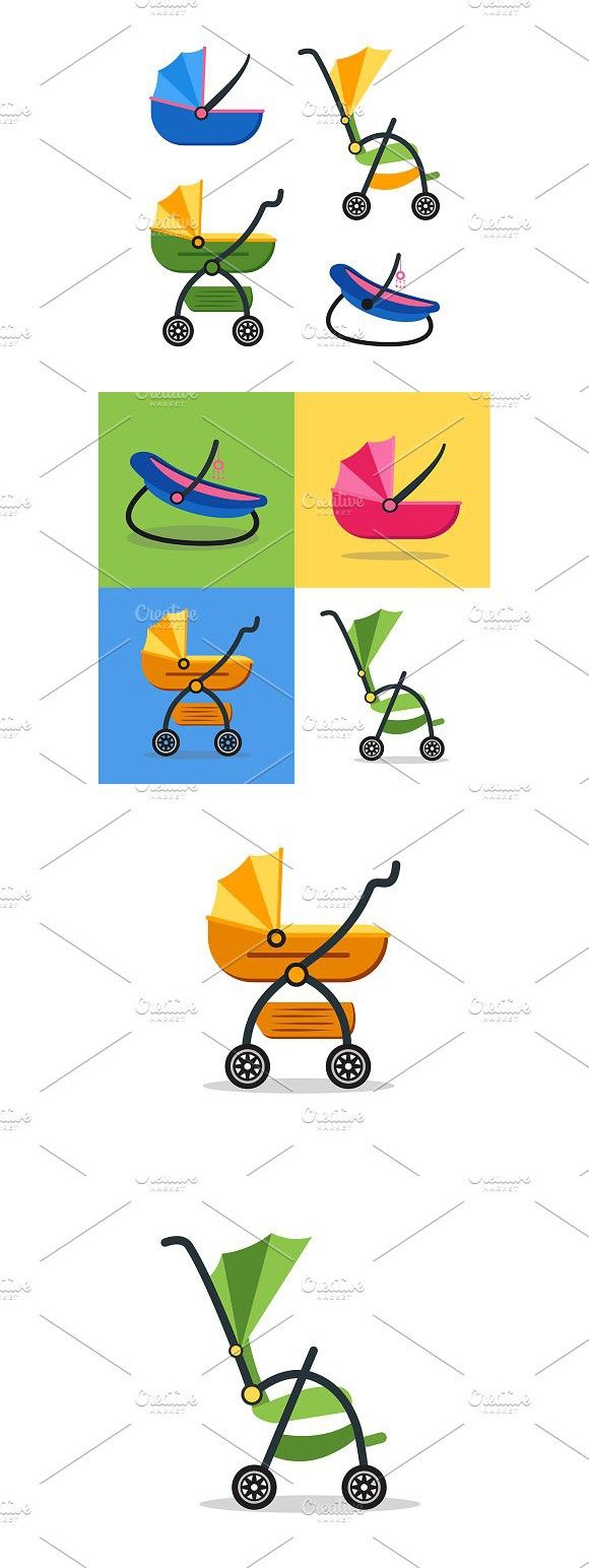 Classic Baby Carriage Set. Vector. Best Objects