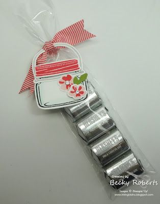 """Inking Idaho: Jar of Love Bundle: smallest jar as a tag for the Hershey Nuggets in  2"""" x 8"""" Cello Bags."""