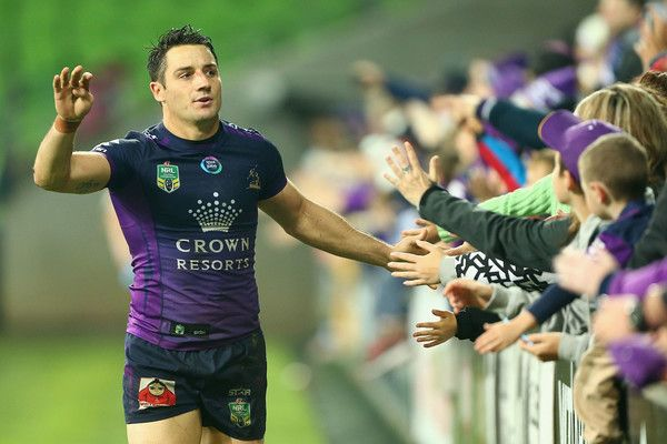 Cooper Cronk Photos - Cooper Cronk of the Storm thanks fans after a win during the round 13 NRL match between the Melbourne Storm and the Penrith Panthers at AAMI Park on June 4, 2016 in Melbourne, Australia. - NRL Rd 13 - Storm v Panthers