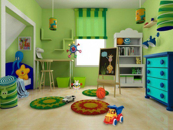 Inspirational deko ideen kinderzimmer gr ne w nde raffrollo h ngelampen runde teppiche