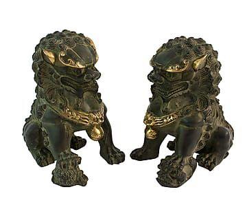 Set de 2 perros decorativos de bronce I