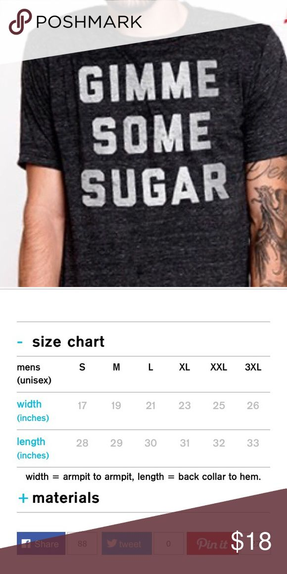 SOLD Gimme some sugar chive shirt Chive on! Gimme some sugar soft tee made by Buy Me Brunch. Men's size small, still in packaging. I have one and received another as a gift. The measurements are listed, this is a unisex shirt. I prefer those shirts for the wider cut. Tags: buy me brunch, William murray, bfm, the chive, KCCO, Chive on, express, hot topic, Spencer's, urban outfitters Tops Tees - Short Sleeve