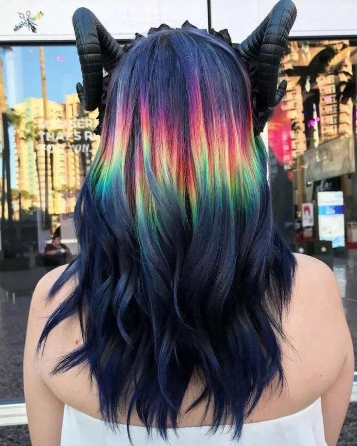 Ideas para pintarte el cabello arcoíris y colorear tu vida Black Hair Ombre, Red Blonde Hair, Blond Ombre, Dark Hair, Brown Blonde, Exotic Hair Color, Ombre Hair Color, Cool Hair Color, Long Curly Hair
