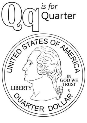Letter Q is for Quarter coloring page from Letter Q