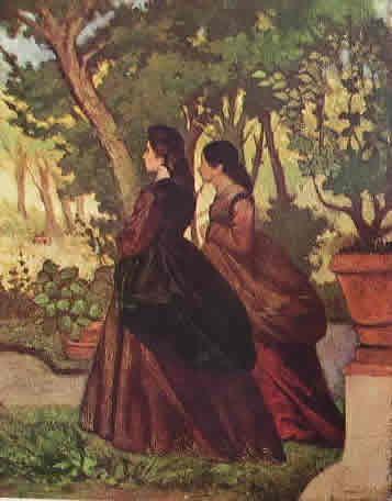 GIOVANNI FATTORI-Signore nel bosco, 34 x 26,5 cm. Collezione Jucker Livorno