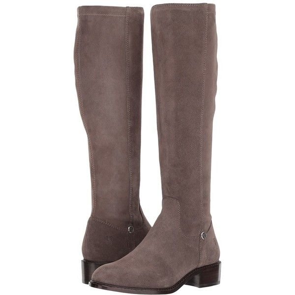 Frye Taylor Stretch Tall (Smoke) Women's Boots ($350) ❤ liked on Polyvore featuring shoes, boots, knee-high boots, zipper boots, tall knee high boots, suede boots, tall stretch boots and thigh-high boots