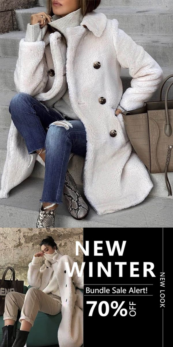 [$27.29 USD] Winter Warm Solid Color Double-Breasted Long Outerwear