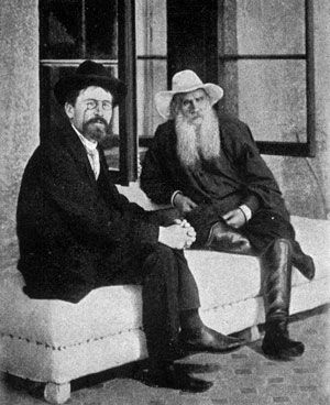 Chekhov with Tolstoy at Yalta, 1900 - This photo brims with greatness!