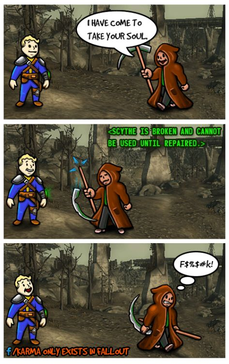 falloutaddicted:  My Fallout Comics (2)  Just some silly drawings. If you like them follow my blog here on Tumblr or like my Karma Only Exists in Fallout page on Facebook. Cheers! :)