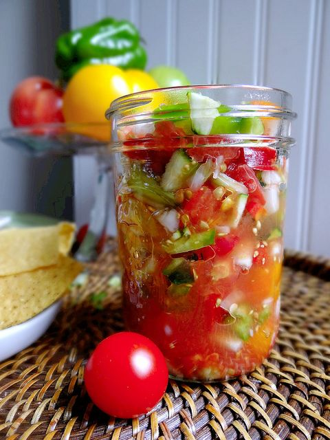 Zucchini Salsa - don't be afraid to process or blend half of it since the zucchini tends to hold its solid texture.