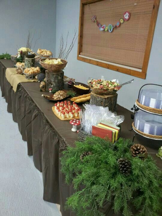 Food table for woodland theme baby shower