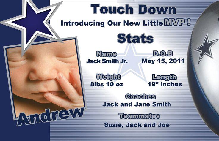 Custom Dallas Cowboys Football Birth Announcement. $19.99, via Etsy.