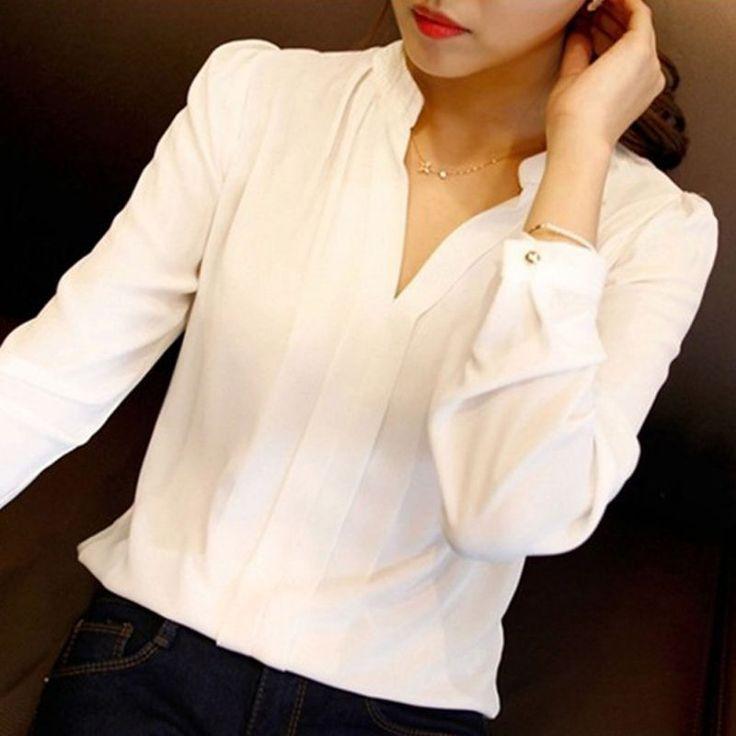 Alta Calidad Nuevo Blanco Casual Mujer Blusa de Las Señoras Solid V-cuello Elegante Camisa Más Tamaño Blusas de Manga Larga OL Oficina