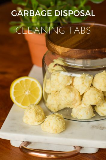 DIY Garbage Disposal Cleaning Tabs -- cleaning your garbage disposal is easy when you keep a batch of these simple all-natural homemade garbage disposal cleaning tabs on hand. Made with baking soda, salt, dish soap and lemons, use a couple a week to keep your garbage disposal smelling clean and fresh! | via @unsophisticook on unsophisticook.com