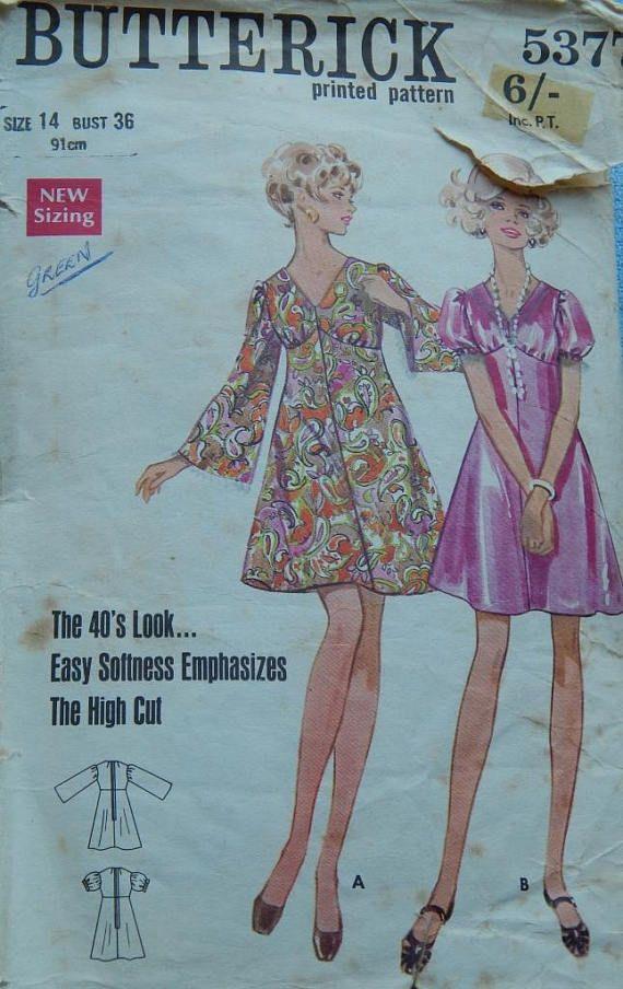 1970s Butterick 5377 Vintage sewing dress pattern Size 14 Bust