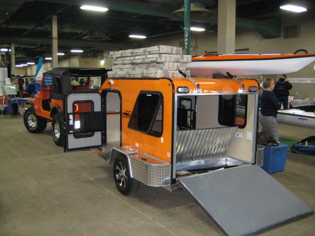 Microlite Trailers... would like to have something  like this for the kayaks and big enough to fit a motorcycle inside to pull behind the Jeep...