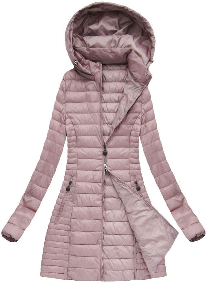 Dlhá prechodná bunda ružová xb7127x