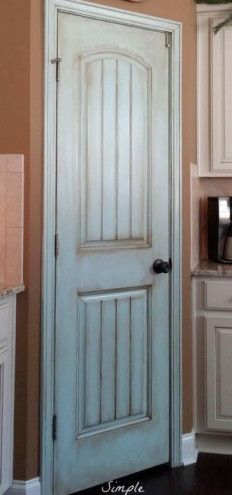 Pantry Door Idea | tamcam10 | Blue Painted Door | Distressed | DIY | New House | Walk in Pantry |