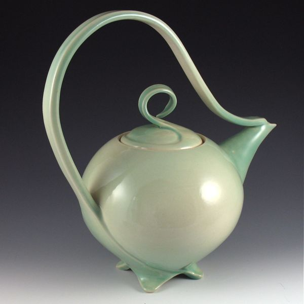 Glossy Celadon Green Teapot/Curvature Series  jtceramics   Judi Tavill Ceramics: Handmade Sculptural Pottery