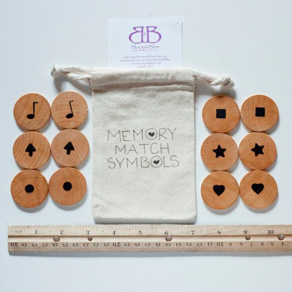 Natural Wood Memory Matching Game For Children by BloomAndBlissCA