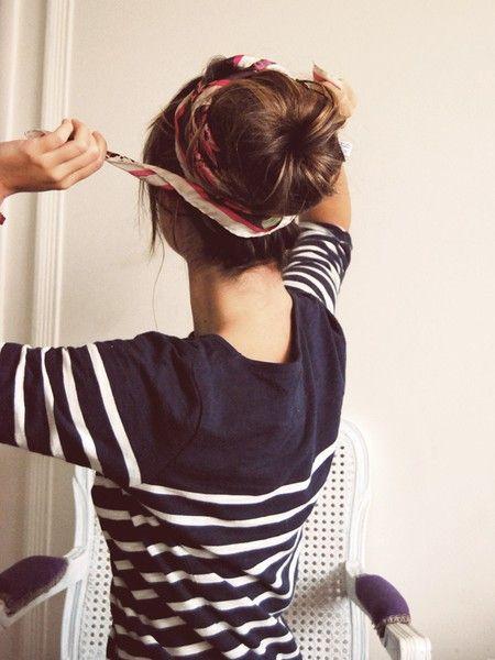 Stripes + scarf.